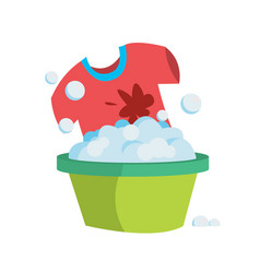 T-shirt in a basin with soapy water is washed by vector