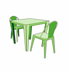 table and two chairs vector image