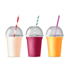 Takeout fast food plastic glasses vector