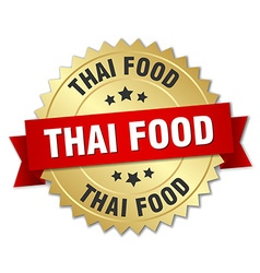 Thai food 3d gold badge with red ribbon vector