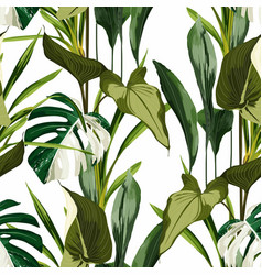 Tropical bright green leaves seamless pattern vector