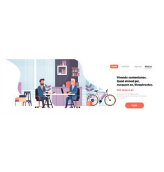 two business men sitting office desk modern vector image