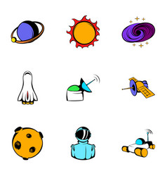 universe icons set cartoon style vector image