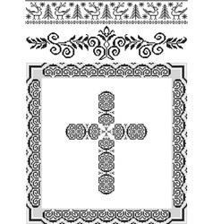 Vintage frame cross vector