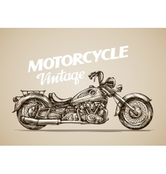 Vintage motorcycle Hand drawn retro motorbike vector image