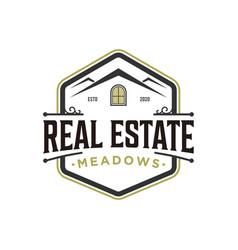 Vintage real estate logo design classic style vector