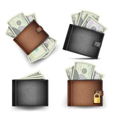 wallet set dollar banknotes realistic 3d vector image