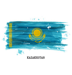 Watercolor painting flag kazakhstan vector