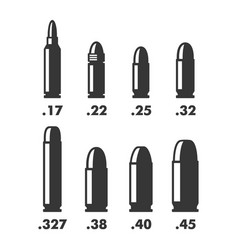 Weapon bullets sizes calibers and types chart on vector