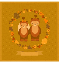 Wedding amusing card with bears vector