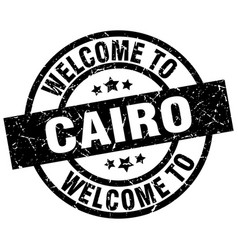 welcome to cairo black stamp vector image