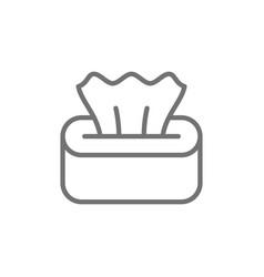 Wet napkin in box tissue paper line icon vector