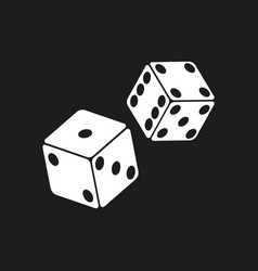 White dice on black vector
