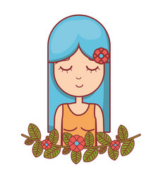 Woman peace and love relax vector