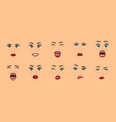 women facial expressions gestures emotions vector image