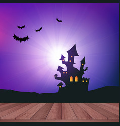 wooden table looking out to a halloween landscape vector image