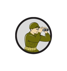 World War Two American Soldier Binoculars Circle vector image