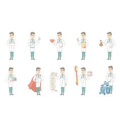 Young caucasian doctor set vector