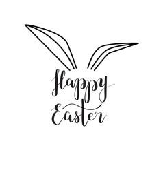 happy easter rabbit ear calligraphy vector image