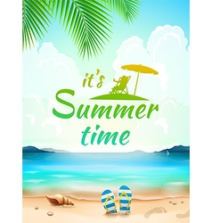 Summer Time on background seascape beach waves vector image
