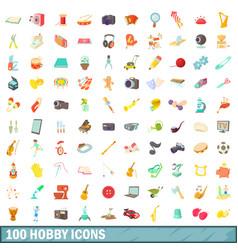 100 hobby icons set cartoon style vector