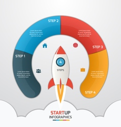 4 steps startup circle infographic with rocket vector image vector image