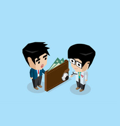 Doctor holding stethoscope to check wallet health vector