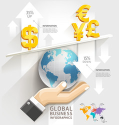 Global business scale Infographics template vector image