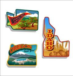 Idaho Oregon Washington retro vector image