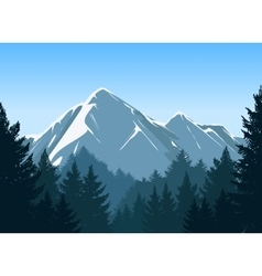 Mountains with pine forest background vector image vector image