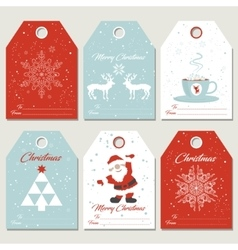 Set Christmas gift tags in retro style vector image