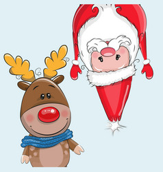 Cute christmas deer and santa vector