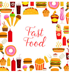 fast food restaurant lunch poster for menu design vector image
