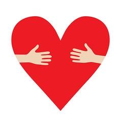 Heart In Hands hug donation encourage vector image vector image