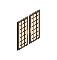 Japanese style doors icon isometric 3d style vector image vector image