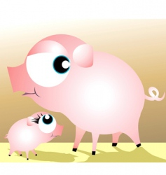 a mother pig and piglet vector image vector image