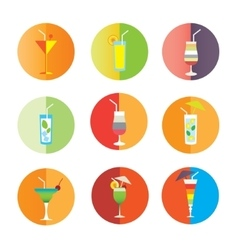 Alcohol drinks and coctails icon set vector image