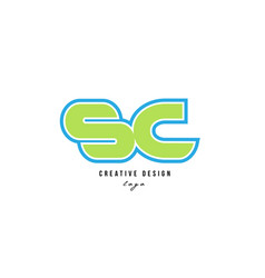 Blue green alphabet letter sc s c logo icon design vector