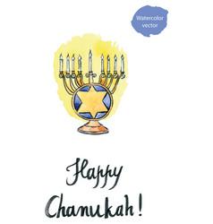 hanukkah menorah with all candles lit jewish vector image