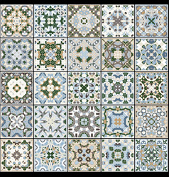 A collection of ceramic tiles in blue and beige vector