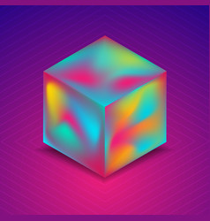 Abstract holographic liquid 3d cube on blue purple vector