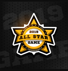 All star game sport emblem logo in the shape vector