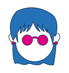 avatar female face wear fuchsia glasses vector image