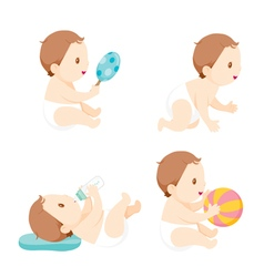 Baby Crawling Playing Sucking Baby Bottle Set vector image