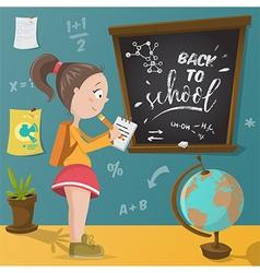 back to school schoolgirl and school supplies vector image