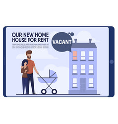 Banner with happy young family rented vacant flat vector