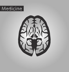 Black and white style icon of brain vector