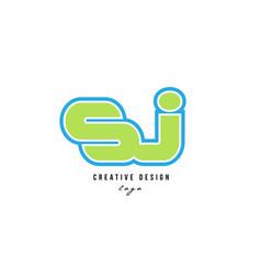 Blue green alphabet letter sj s j logo icon design vector