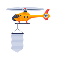 Blue helicopter with blank banner air vehicle vector