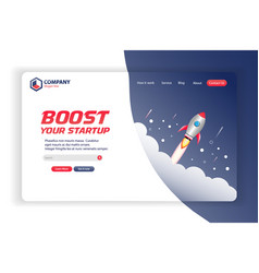boost your startup website landing page tem vector image